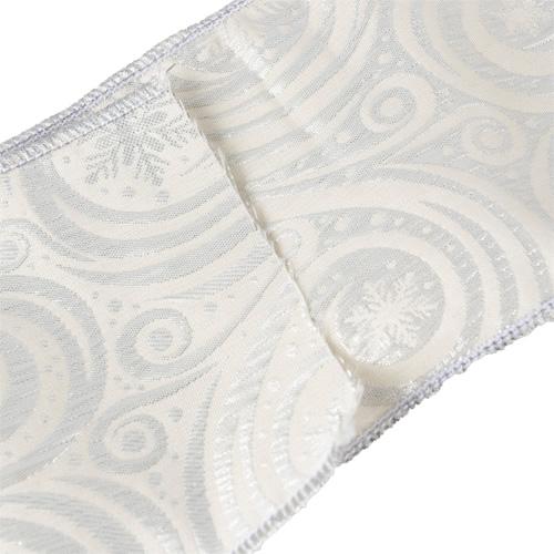 MING ワイヤーリボン 雪の結晶 (シルバー) 幅10cm