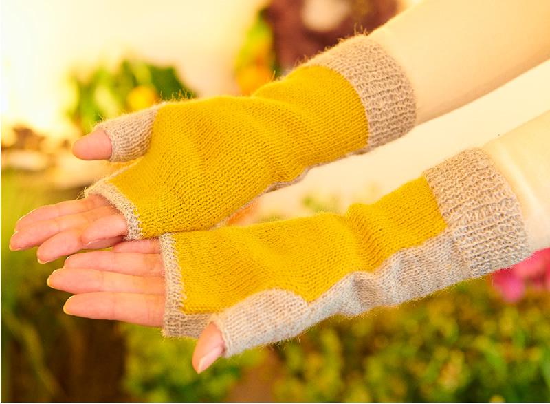 アルパカ100% 指なし手袋 メリヤス編 グレー×オレンジ