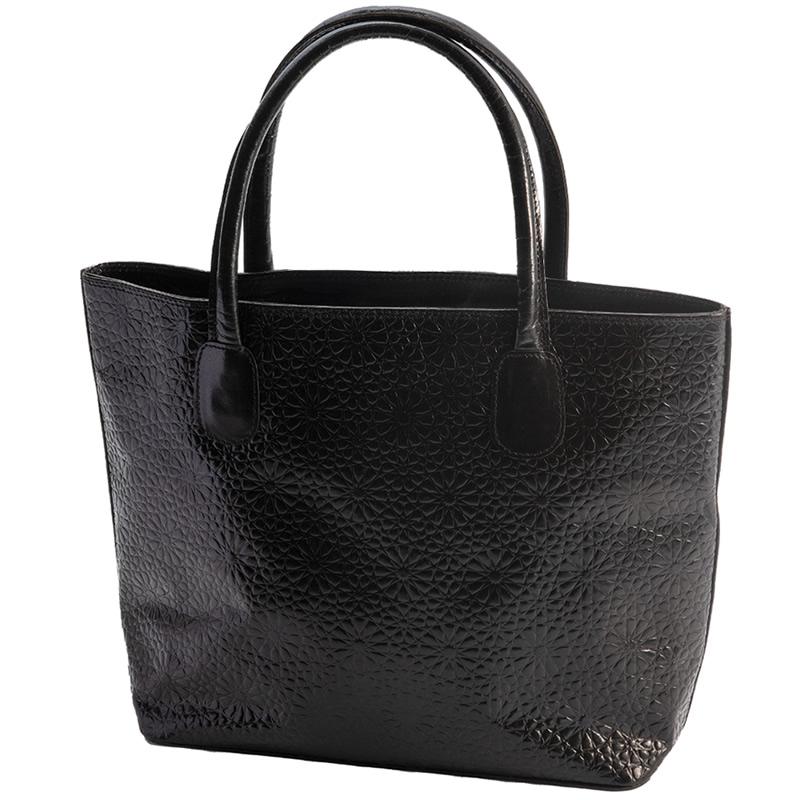 山羊革 トートバッグ タンポポ柄(黒)