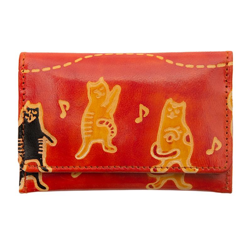 山羊革 カードパース コーラス猫柄(オレンジ)