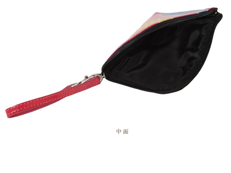 山羊革 ストラップ付コインケース ネコ柄(赤)