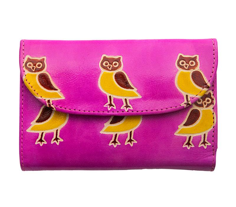 山羊革 フラップ付二折財布 フクロウ柄(ピンク)