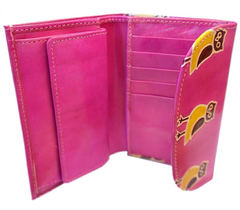 山羊革 フラップ付き二つ折り財布 フクロウ柄(ピンク)