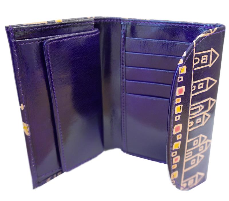 山羊革 フラップ付き二つ折り財布 街並み柄(紺)
