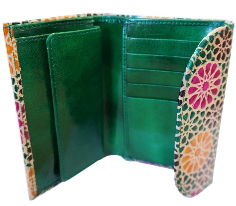 山羊革 フラップ付二折財布 タンポポ柄(薄緑)
