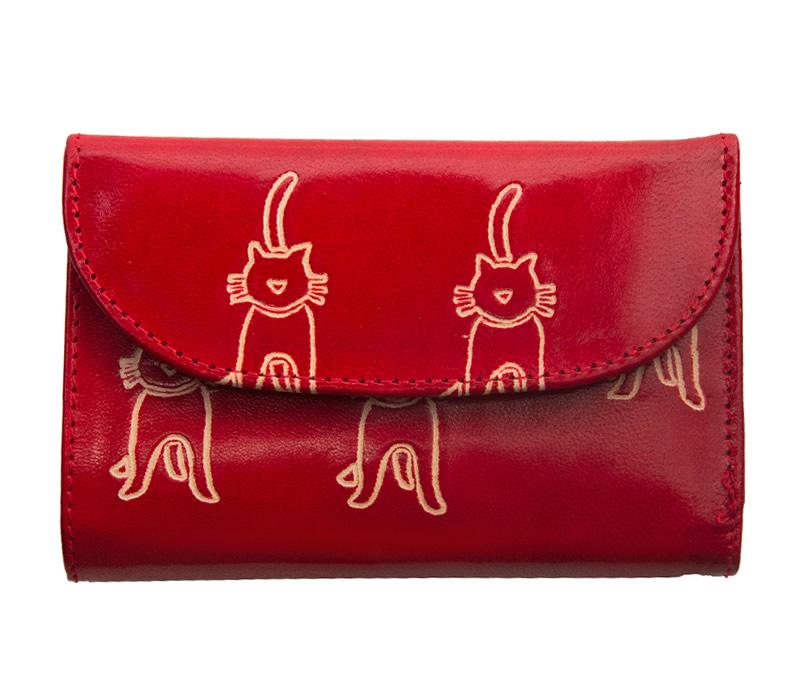 山羊革 フラップ付き二つ折り財布 ネコ柄(赤)