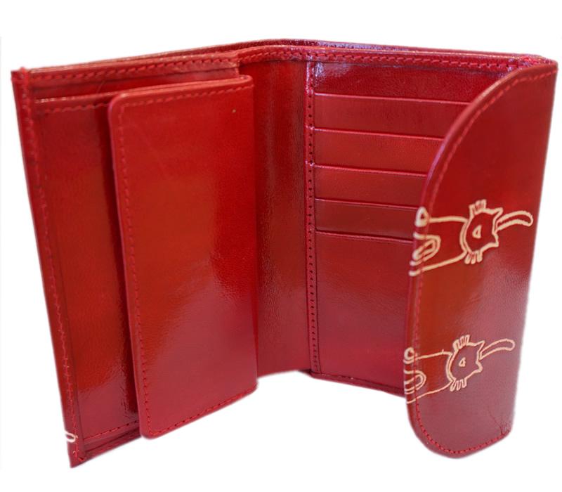 山羊革 フラップ付二折財布 ネコ柄(赤)