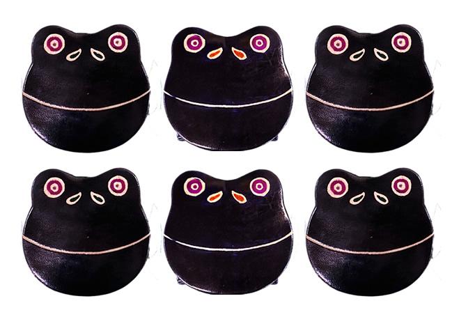 山羊革 アニマルコインパース カエル黒6個セット