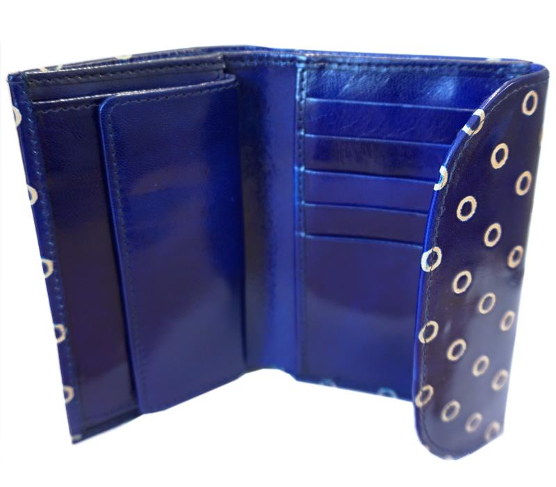 山羊革 フラップ付二折財布 ドット柄(青)