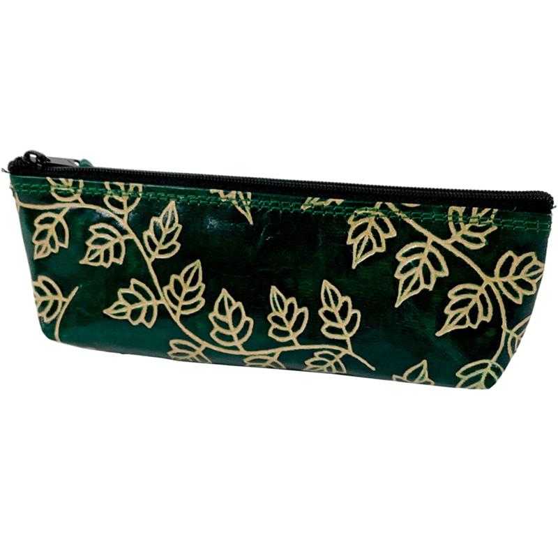 山羊革 ペンケース ツタ柄(緑)