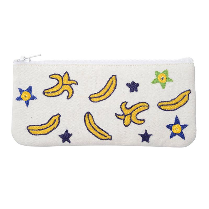 ミラー刺繍 メガネケース バナナ柄(白)