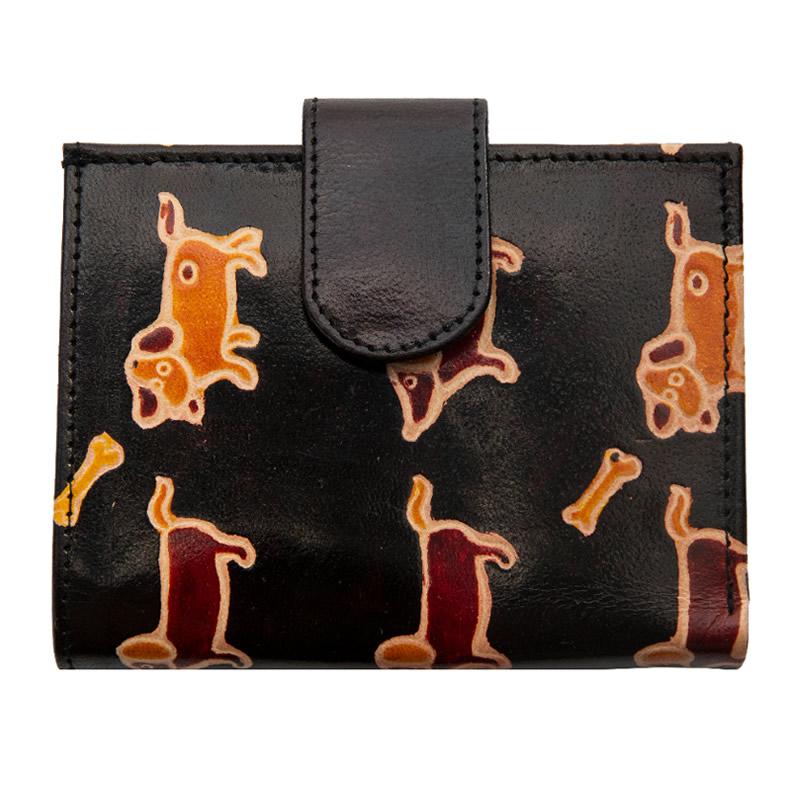 山羊革 二つ折財布 ダックス柄(黒)