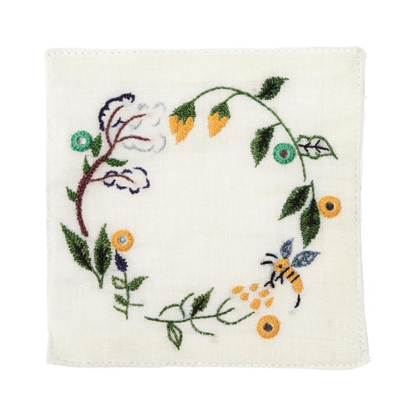 ミラー刺繍コースター ミツバチ柄(白)