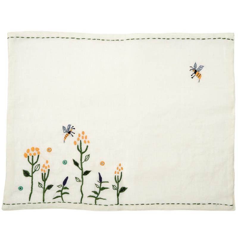 ミラー刺繍プレイスマット ミツバチ柄(白)