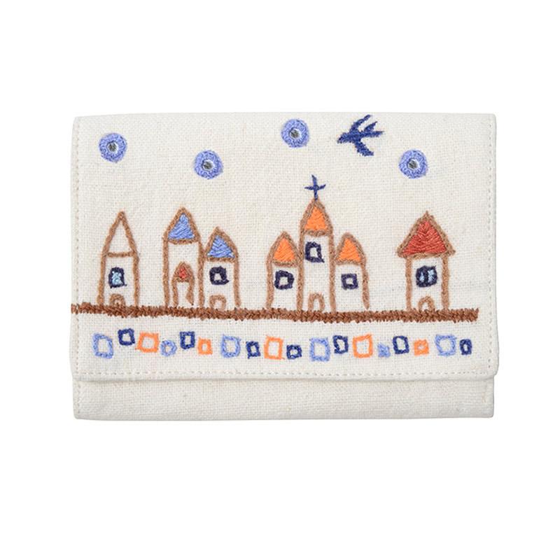 ミラー刺繍 カードケース 街並み柄(白)
