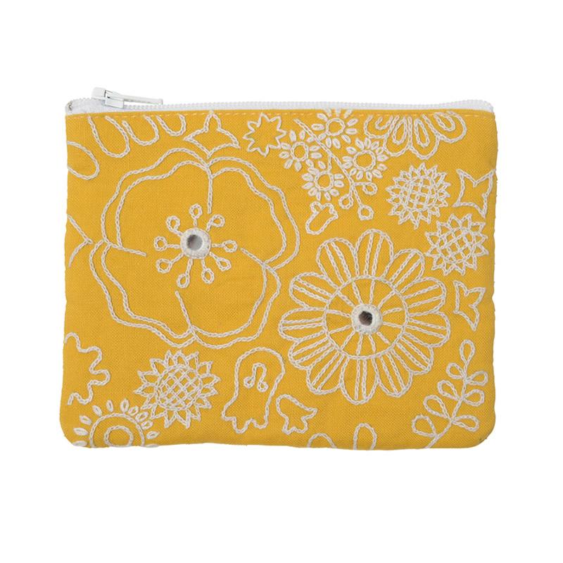 ミラー刺繍ティッシュ入れ付きミニポーチ ミモザ柄(黄色)