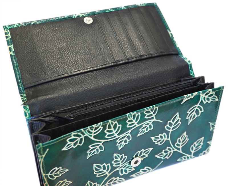 山羊革 マルチ長財布 ツタ柄(緑)