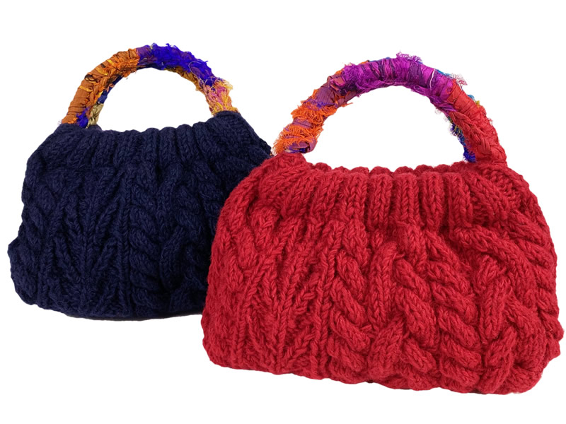MING ネパール 手編みのハンドバッグ 赤
