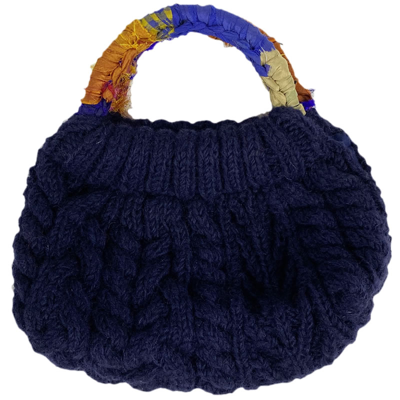 MING ネパール 手編みのハンドバッグ 紺