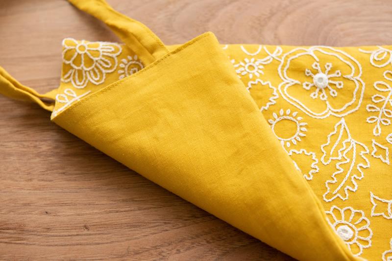 ミラー刺繍ミニトート ミモザ柄(黄色)