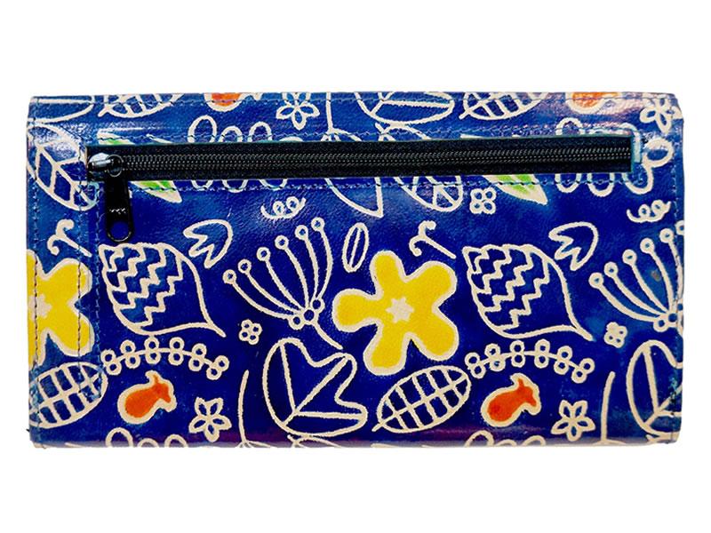 【セール期間限定5掛】山羊革 マルチ長財布 ボタニカルポップ柄(青)