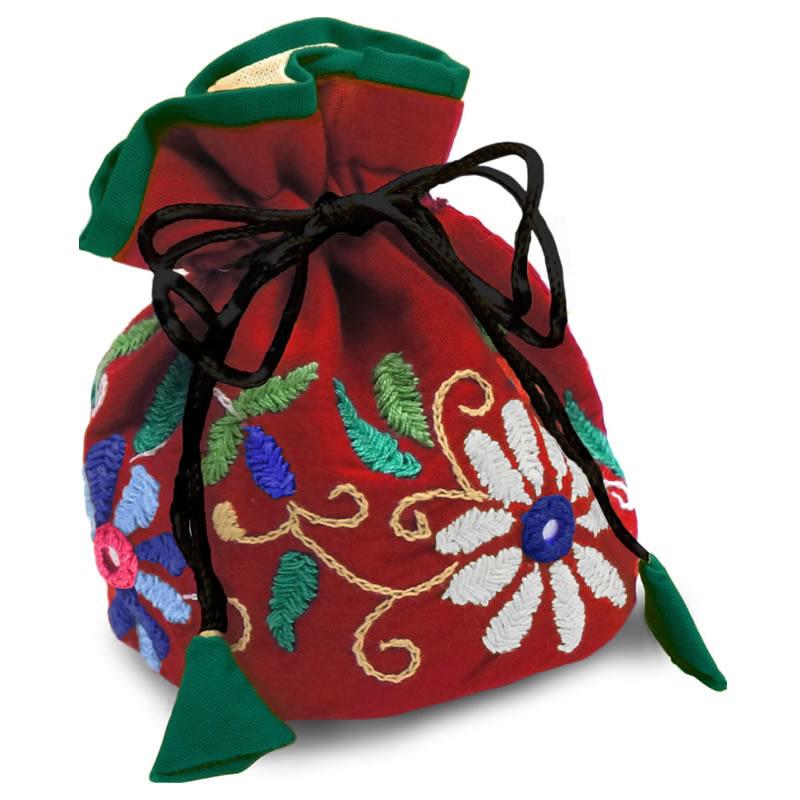 ミラー刺繍 ジュエリーポーチ(赤)