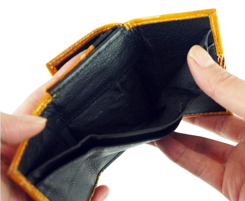 山羊革 折りたたみミニ財布 ツタ柄(緑)