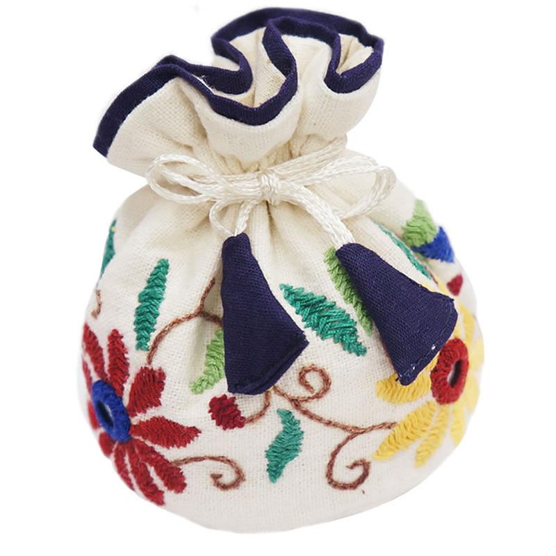 ミラー刺繍 ジュエリーポーチ(白)