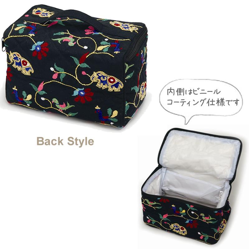 ミラー刺繍 ポーチ (水色)