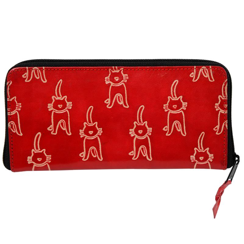 山羊革 長財布 ネコ柄(赤)
