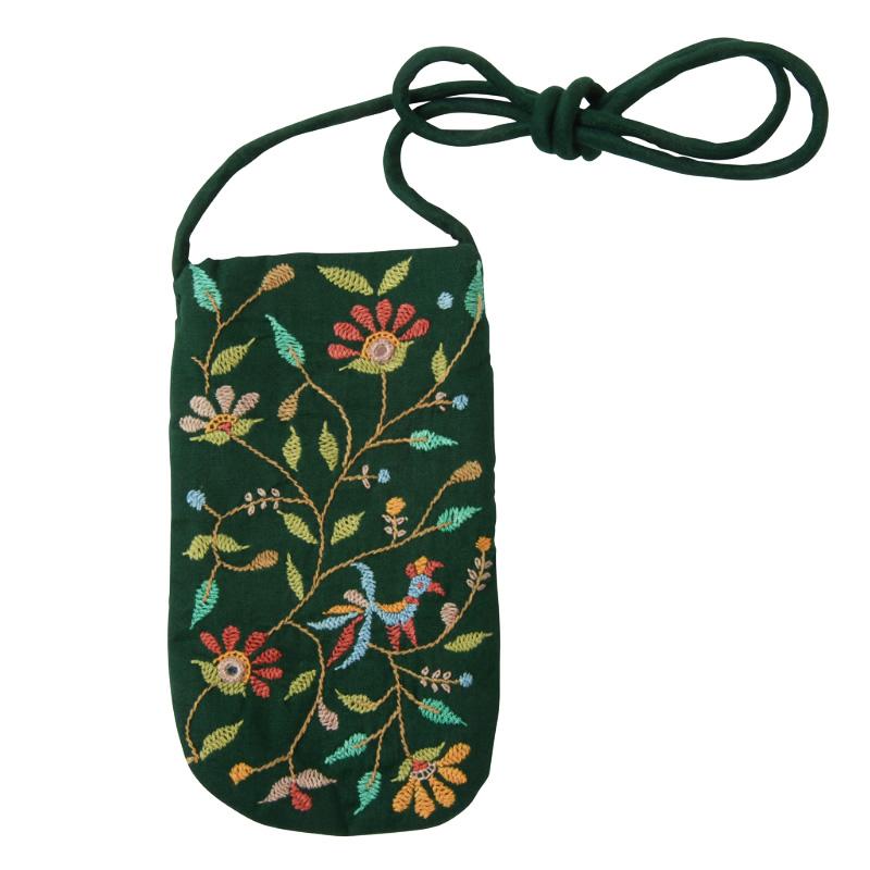 ミラー刺繍 メガネケース(緑)