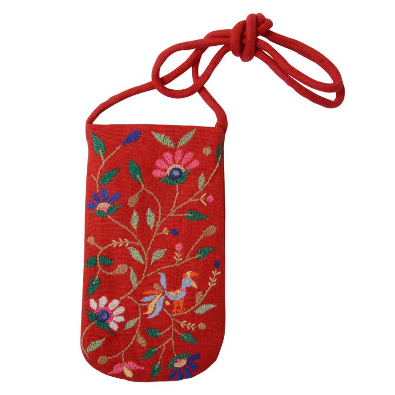 ミラー刺繍 メガネケース(赤)