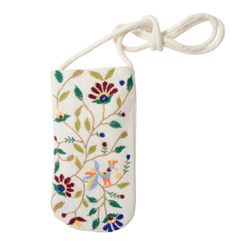 ミラー刺繍 メガネケース(白)