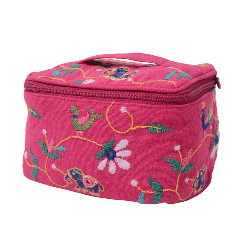 ミラー刺繍  コスメポーチ(ピンク)