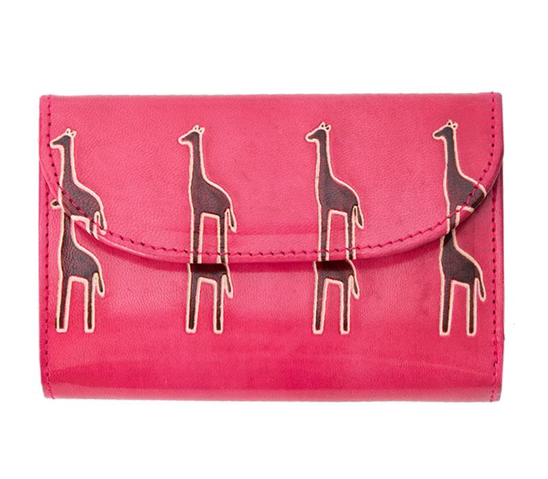 山羊革 フラップ付き二つ折り財布 キリン柄(ピンク)