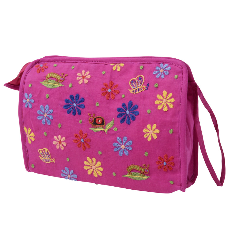 ミラー刺繍 スクエアポーチ(ピンク)