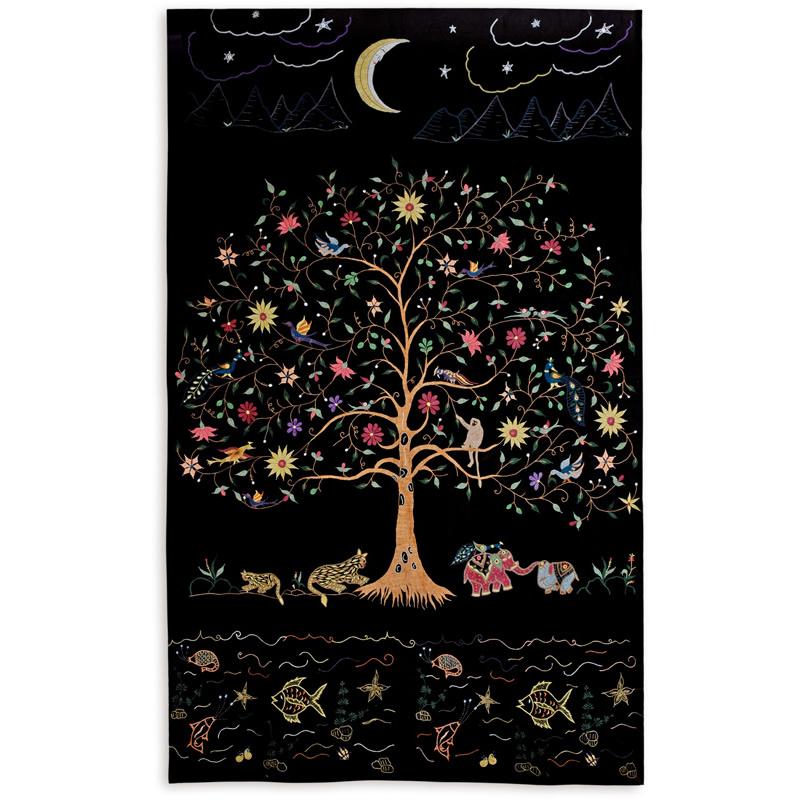 ミラー刺繍ベッドカバー 月(黒)