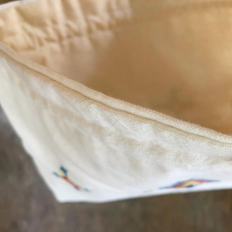 ミラー刺繍 肩掛けポーチ 鳥柄(白)