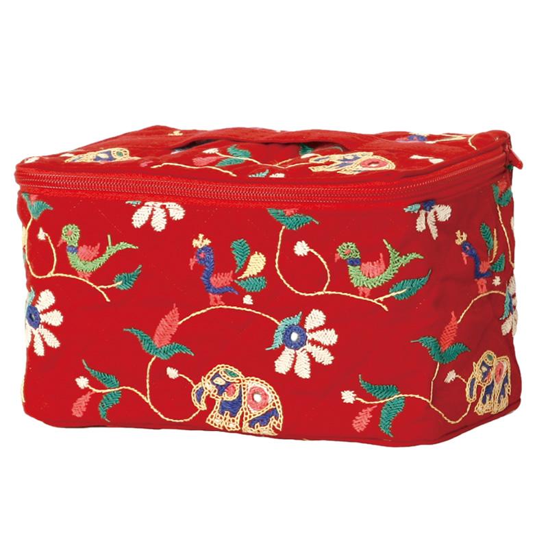ミラー刺繍 ポーチ (赤)