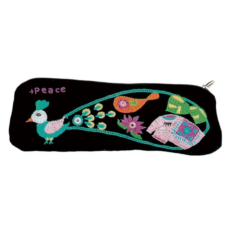 ミラー刺繍  ペンケース(黒)