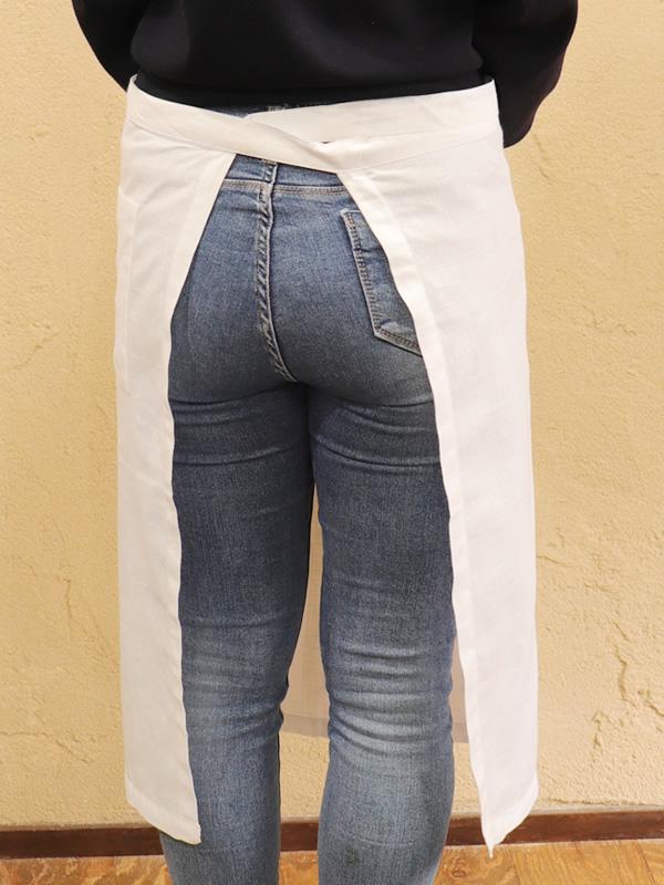 カディコットン×ミラー刺繍  ショートエプロン 65�(白×ライトグレー)
