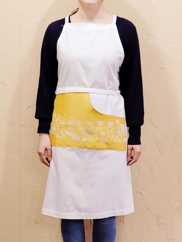 カディコットン×ミラー刺繍 ロングエプロン(白×黄色)