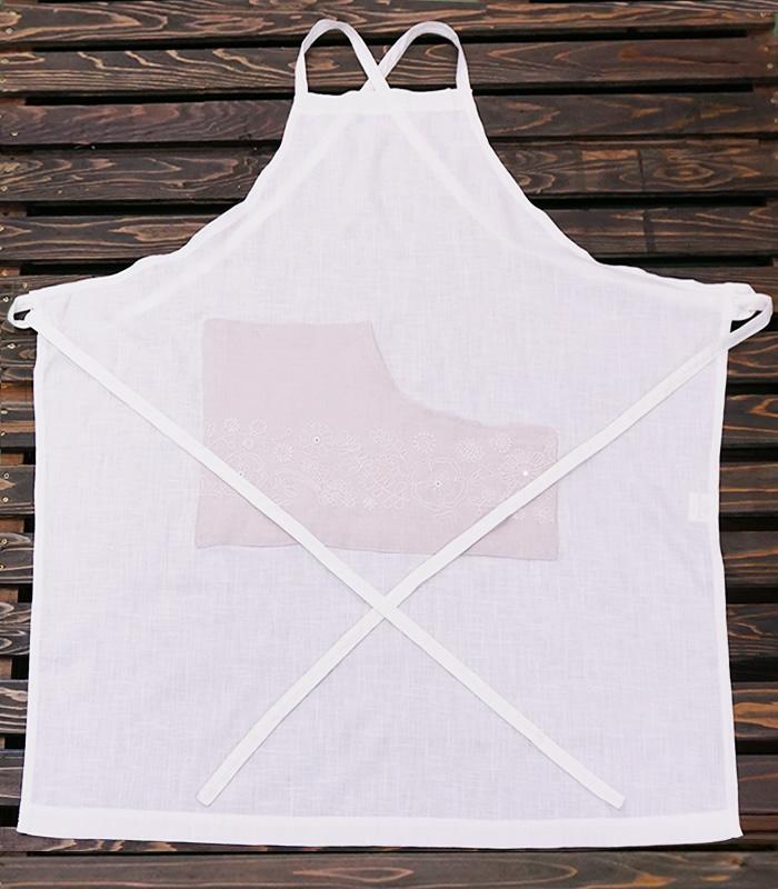 カディコットン×ミラー刺繍 ロングエプロン(白×ライトグレー)