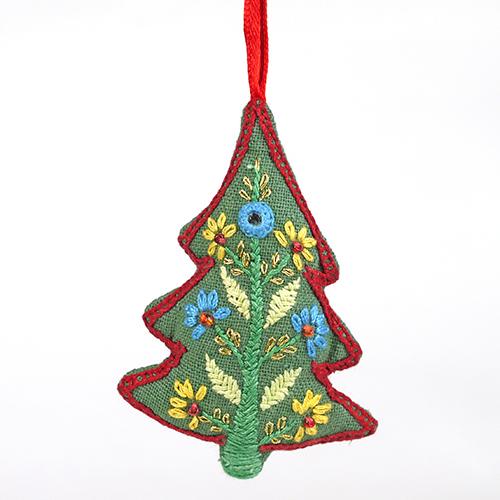 ミラー刺繍 オーナメント ツリー(緑)