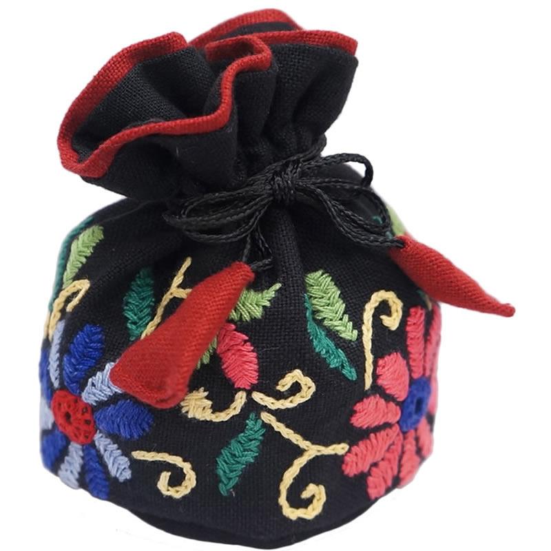 ミラー刺繍 ジュエリーポーチ(黒)