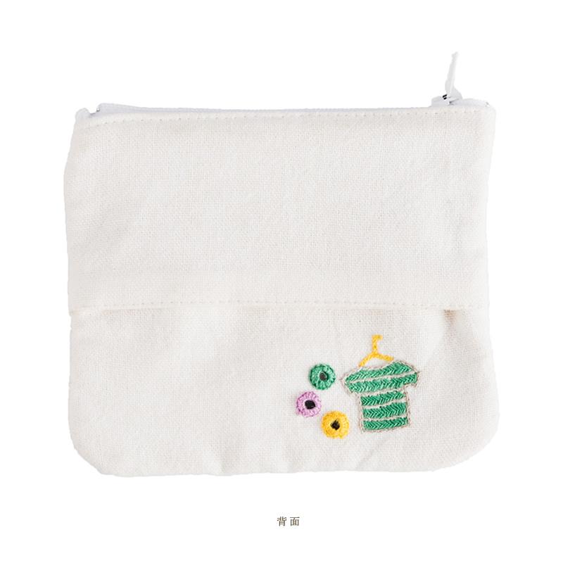 ミラー刺繍ティッシュ入れ付きミニポーチ ランドリー柄(白)