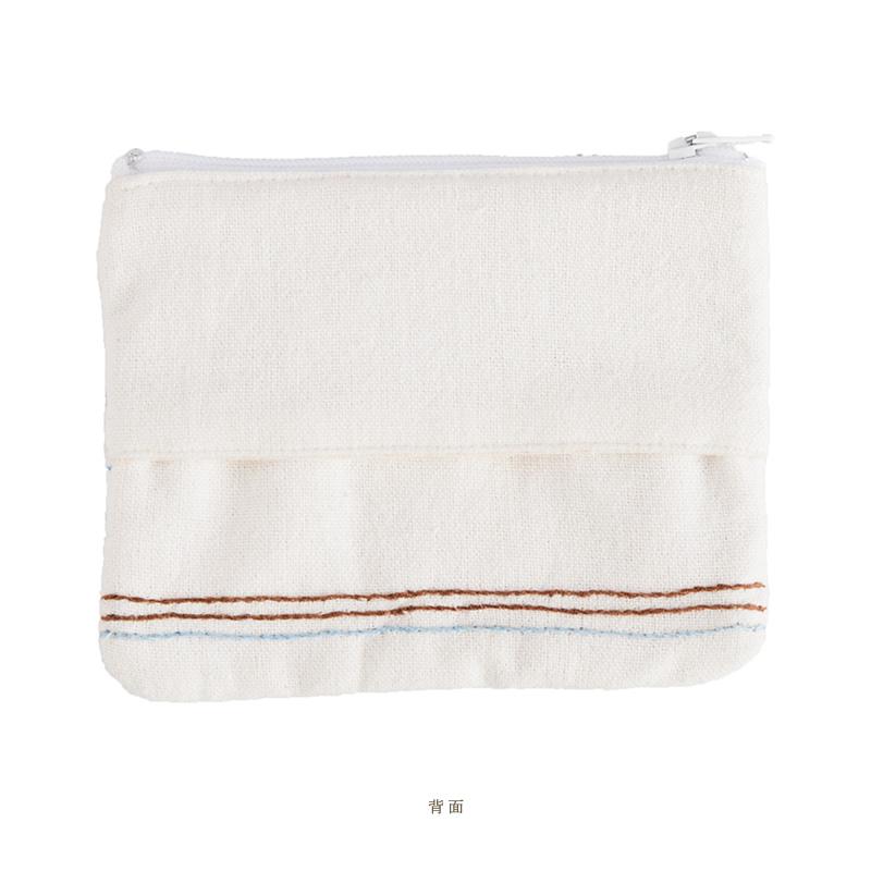 ミラー刺繍ティッシュ入れ付きミニポーチ 地層柄(白)