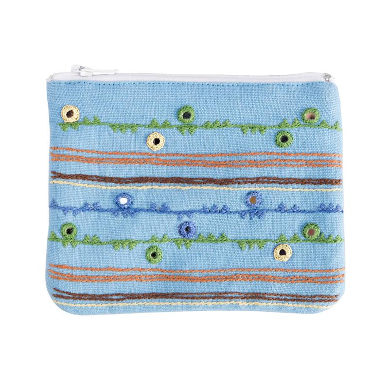ミラー刺繍ティッシュ入れ付きミニポーチ 地層柄(水色)
