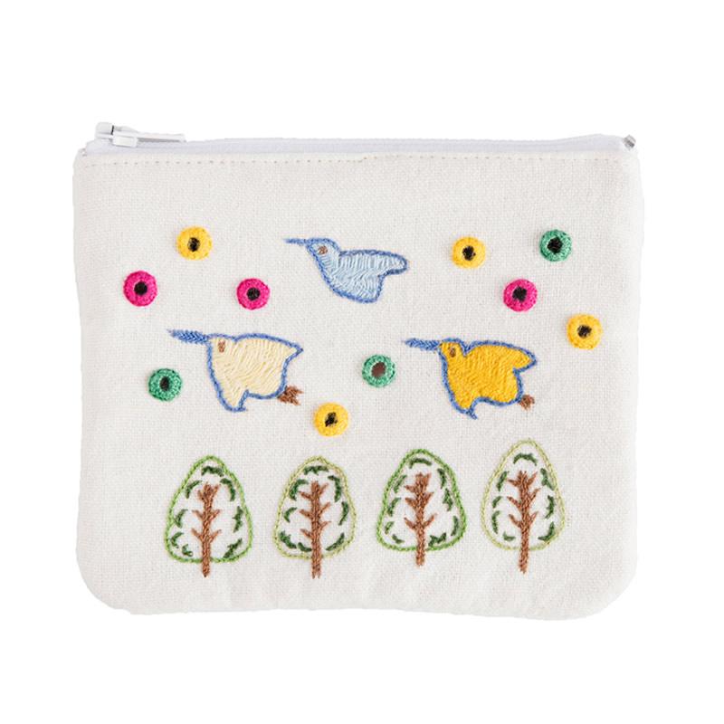 ミラー刺繍ティッシュ入れ付きミニポーチ ちどり柄(白)