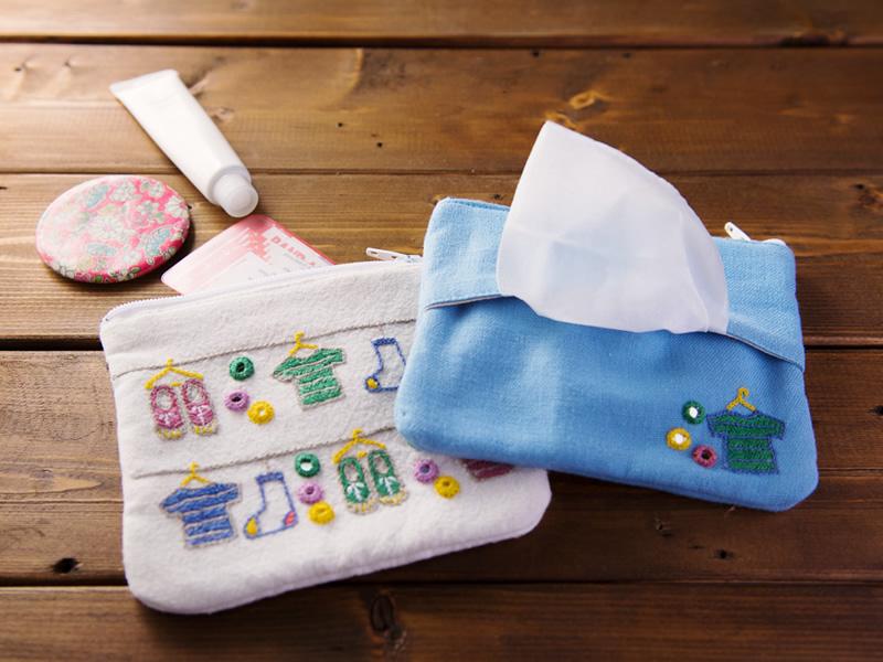 ミラー刺繍ティッシュ入れ付きミニポーチ ちどり柄(水色)
